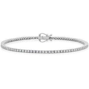 Round cut diamond tennis bracelet solid white gold